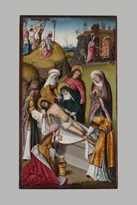 De graflegging. In de achtergrond de kruisafneming en Christus bevrijdt de zielen uit het voorgeborchte