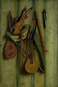 Trompe l'oeil van harp, fluiten, violen en tokkelinstrumenten