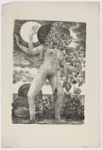 Naaktfiguur met vier armen, vogelkop en schelpen