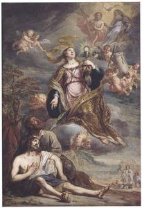 De H. Barbara komt tot een stervende in een visioen met het H. Sacrament