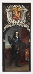 Portret van Willem II van Oranje- Nassau (1626-1650) onder zijn wapenschild