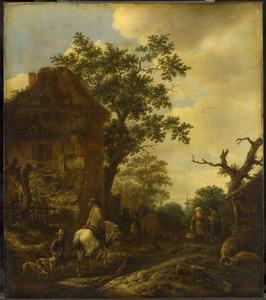 Rand van een dorp met een man te paard