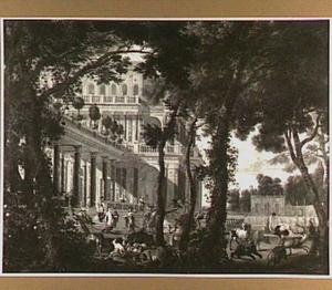 Architectuurstuk; Odysseus in het paleis van Circe