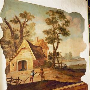 Landschap met boerderij en twee figuren