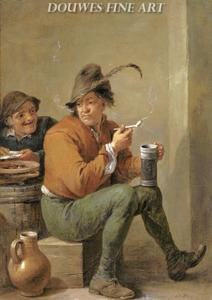 Rokende en drinkende boer