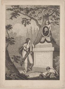 Portret van Petrus Haack (1747-1824) met putti en rouwende vrouw