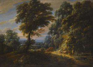 Boslandschap met een herderin en haar dieren bij een bruggetje
