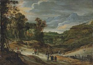 Landschap met boeren en appelplukkers, bergen in de achtergrond