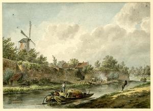 Utrecht, gezicht over de Stadsbuitengracht op de stadsmuur en het bastion Sterrenburg;  links de molen op de Bijlhouwerstoren