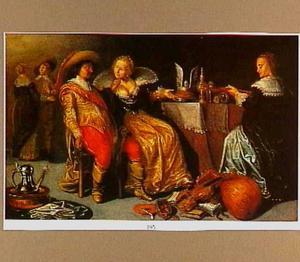 Drie figuren bij een tafel met een pastei en kostbaar vaatwerk; op de grond muziekinstrumenten