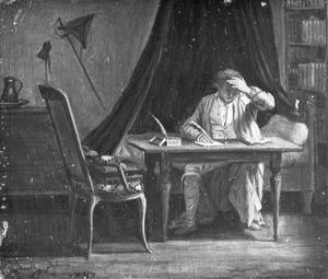 Interieur met schrijvende man