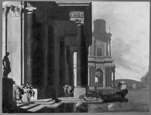 Fantasie-architectuur met figuren op een bordes bij een kanaal