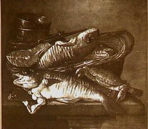 Visstilleven met kabeljauw, moot zalm en krab, een mand en weegschaal