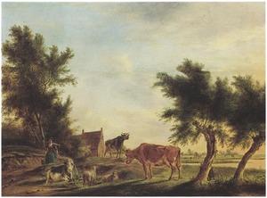 Weidelandschap met een melkmeid en koeien en schapen, in de achtergrond een boerderij