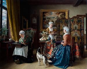 Drie vrouwen in een interieur