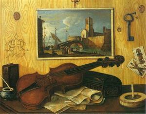 Trompe-l'oeil met viool