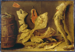 Visstilleven met een vat haring