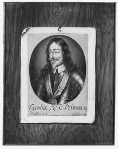 Trompe l'oeil van een prent van koning Karel I van Engeland (1600-1649)