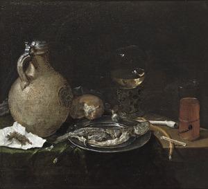 Stilleven met een steengoed kan, een roemer, een kometenglas, brood en haring op een deels gedekte tafel