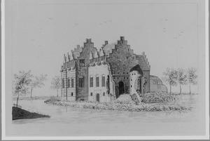 Voor- en rechterzijde van de overblijfselen van Nijeveld (of Nievelt; ook wel Velde) bij Vleuten