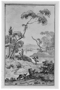 Heuvellandschap met rivier en figuren bij een standbeeld