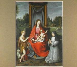 Maria met kind, de H. Johannes de Doper als jongeling en stichtster