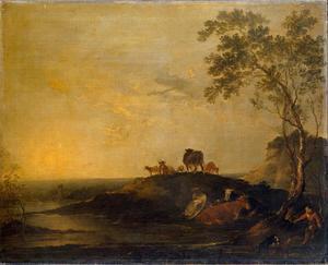 Landschap met vee (koeien op een heuveltje bij een beek)