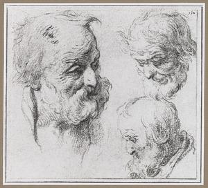 Drie koppen van oude mannen