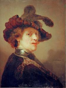 'Tronie' van een man met een gevederde baret