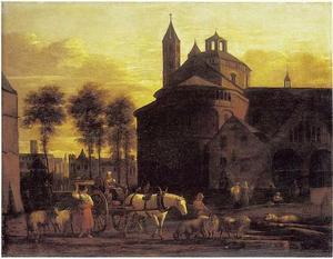 Landschap met gezicht op de St. Apostelkerk te Keulen