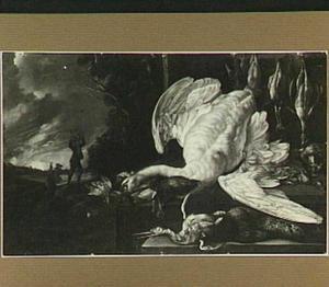 Uitstalling van gevogelte met jagers in een landschap op de achtergrond