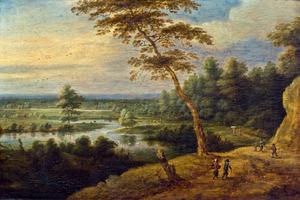 Landschap met een rivier en figuren