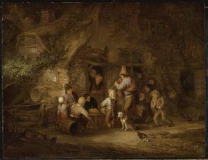 Kinderen rondom een fluitspeler voor een boerenwoning