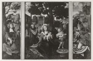 De H. Catharina (links), de H. Familie met luitspelende engel in een landschap (midden), de H. Barbara (rechts)