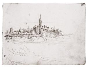 Antwerpen met centraal de Sint-Jorispoort en de Sint-Joriskerk