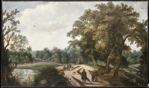 Landschap met reizigers en boeren op een landweg