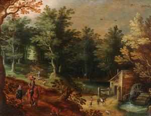 Boslandschap met jagers bij een watermolen