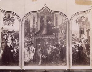 Triptiek van Riebeke-Parmentier: Portret van Adam van Riebeke (linkerluik); Taferelen uit het leven van de H. Antonius van Padua en H. Bonaventura (middendeel); Portret van Margaretha van Riebeke-Parmentier (rechterluik)