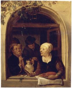 Drie figuren in een venster