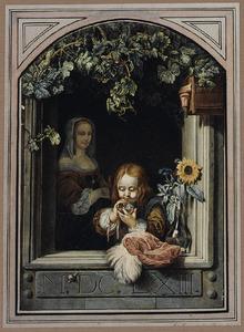 Bellenblazende jongen in open venster