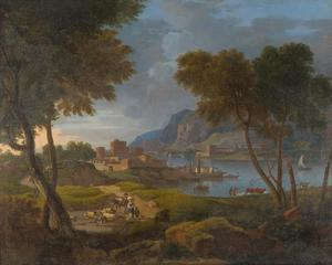 Italianiserend rivierlandschap met herders en vee