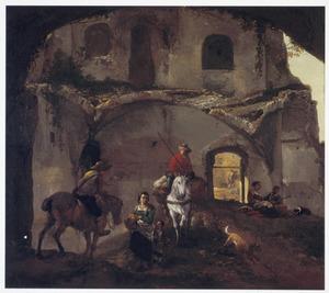 Landschap met reizigers bij een vervallen gebouw