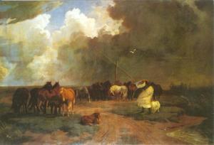 Stoeterijpaarden in de storm en regen