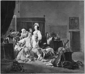 Een man wordt verleid in een bordeel met drank en vrouwen