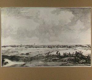 Den Haag vanuit het zuidwesten gezien, links de Zeestraat, in de verte Delft