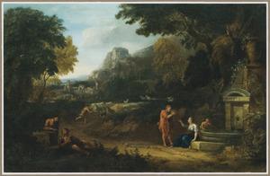 Zuidelijk landschap met figuren bij een fontein, op de achtegrond een herder met zijn kudde
