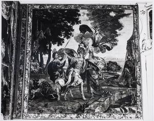 Arcalaus verhindert Amadis zijn doorgang over de brug
