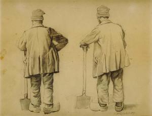 Twee schetsen van een man leunend op zijn spade (naar een onbekend voorbeeld)