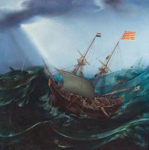Schip in een storm