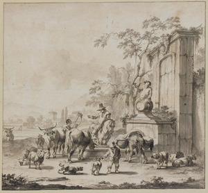 Herders met vee bij een fontein